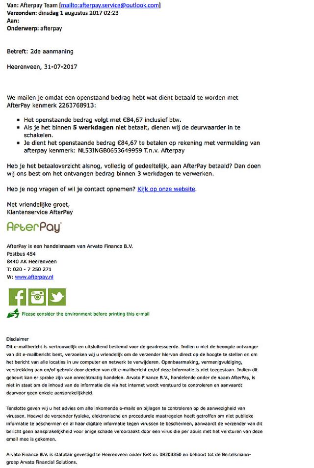 Oplichters proberen van alles om jou geld afhandig te maken. Op dit moment is er een e-mail in omloop die zogenaamd van AfterPay afkomstig is.